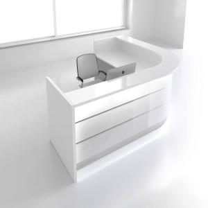 """VALDE J-Shaped 100"""" Reception Desk, High Gloss White"""