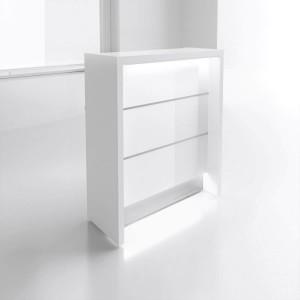 VALDE LAV96L Reception Desk, High Gloss White by MDD Office Furniture