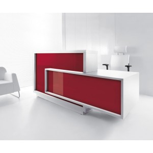 FORO Reception Desk, Left-Handed Counter, High Gloss Burgundy by MDD Office Furniture