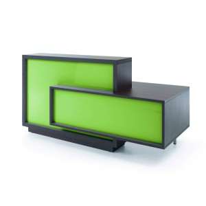 FORO Reception Desk, Left-Handed Counter, High Gloss Lime + Chestnut by MDD Office Furniture