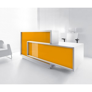 FORO Reception Desk, Left-Handed Counter, High Gloss Orange by MDD Office Furniture