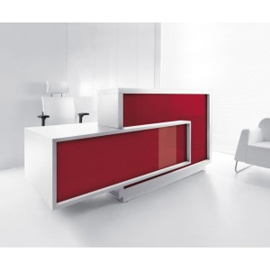 FORO Reception Desk, Right-Handed Counter, High Gloss Burgundy by MDD Office Furniture