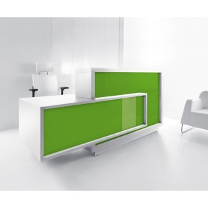 FORO Reception Desk, Right-Handed Counter, High Gloss Lime by MDD Office Furniture