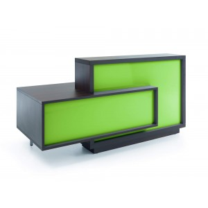 FORO Reception Desk, Right-Handed Counter, High Gloss Lime + Chestnut by MDD Office Furniture