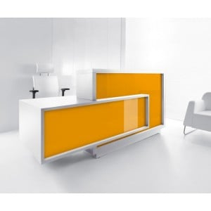 FORO Reception Desk, Right-Handed Counter, High Gloss Orange by MDD Office Furniture