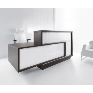 FORO Reception Desk, Right-Handed Counter, High Gloss White + Chestnut by MDD Office Furniture