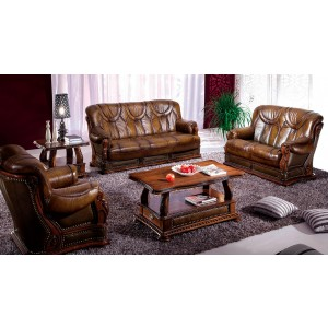 Oakman Leather/Eco-Leather Living Room Set by ESF Furniture