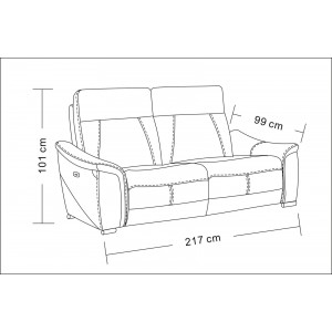 1705 Leather/Eco-Leather Sofa w/2 Electric Recliners by ESF Furniture