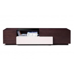 TV015 TV Stand, Brown Oak + Gray Gloss by J&M Furniture