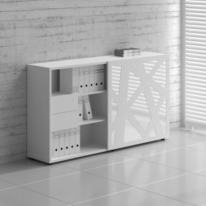 Standard ZS01 Managerial Storage Cabinet w/Sliding Door, White by MDD Office Furniture