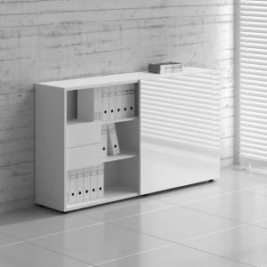 Standard ZS02 Managerial Storage Cabinet w/Sliding Door, White Gloss by MDD Office Furniture