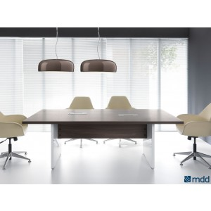 Mito Conference Table, Dark Sycamore + White Side Panels by MDD Office Furniture