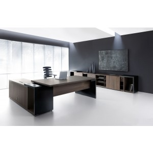 Mito Executive Composition 3, Dark Sycamore by MDD Office Furniture