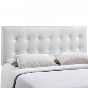 Emily Queen Vinyl Headboard, White by Modway Furniture