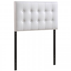 Emily Twin Vinyl Headboard, White by Modway Furniture