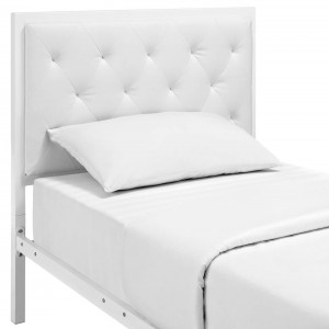 Mia Twin Vinyl Bed, White by Modway Furniture