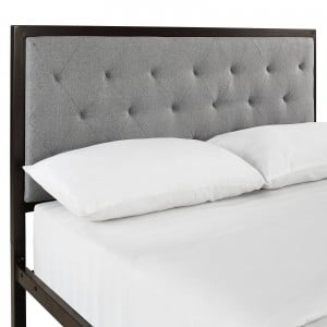 Mia Full Fabric Bed, Brown + Gray by Modway Furniture