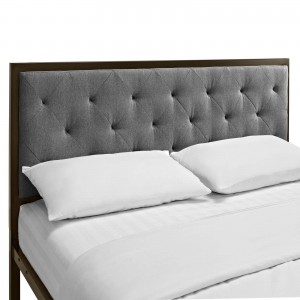 Mia Queen Fabric Bed, Brown + Gray by Modway Furniture