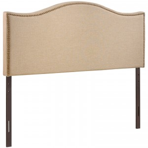 Curl Queen Nailhead Upholstered Headboard, Cafe by Modway Furniture
