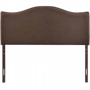 Curl Queen Nailhead Upholstered Headboard, Dark Brown by Modway Furniture