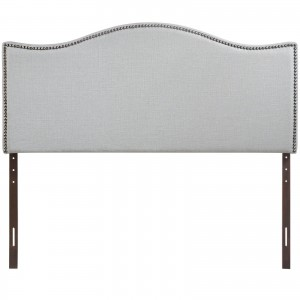 Curl Queen Nailhead Upholstered Headboard, Gray by Modway Furniture
