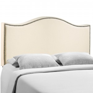 Curl Queen Nailhead Upholstered Headboard, Ivory by Modway Furniture