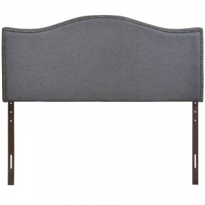 Curl Queen Nailhead Upholstered Headboard, Smoke by Modway Furniture