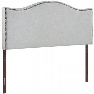 Curl King Nailhead Upholstered Headboard, Gray by Modway Furniture