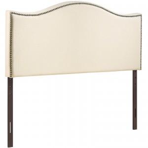 Curl King Nailhead Upholstered Headboard, Ivory by Modway Furniture
