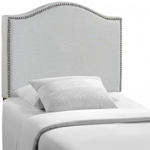 Curl Twin Nailhead Upholstered Headboard, Gray by Modway Furniture