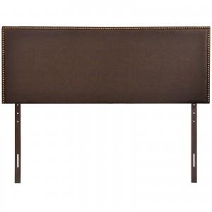 Region Queen Nailhead Upholstered Headboard, Dark Brown by Modway Furniture