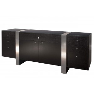 Nero Glass/Wood Credenza by Sharelle Furnishings