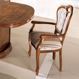 Pamela Traditional Fabric Dining Arm Chair by ESF Furniture