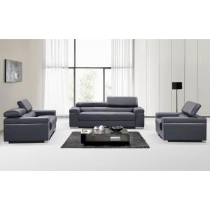 Soho Living Room Set, Grey Leather by J&M Furniture