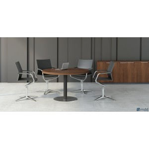 Status Round Conference Table, Lowland Nut by MDD Office Furniture