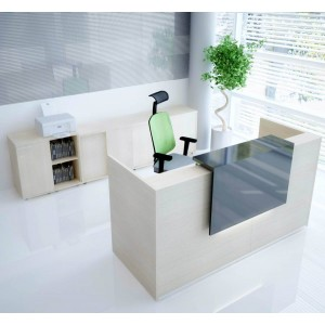 TERA Medium Reception Desk w/Light Panel, Canadian Oak by MDD Office Furniture