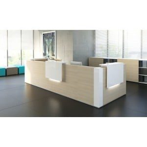 TERA L-Shape Reception Desk, Chestnut + White by MDD Office Furniture