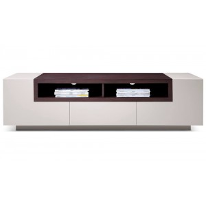 TV002 TV Stand, Gray Gloss + Brown Oak by J&M Furniture