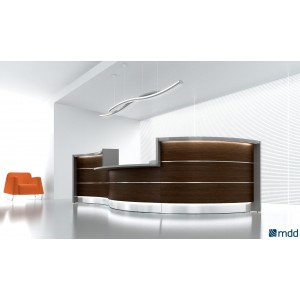 VALDE Countertop Curved Reception Desk, Chestnut by MDD Office Furniture