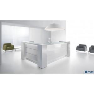 VALDE L-Shape Reception Desk, High Gloss White by MDD Office Furniture