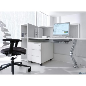 "VALDE 115"" Straight Desk w/Storage, White"