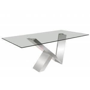 Vetro Glass/Stainless Steel Dining Table by Sharelle Furnishings