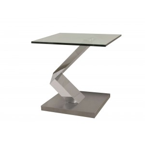 Vetro Glass/Stainless Steel Lamp Table by Sharelle Furnishings