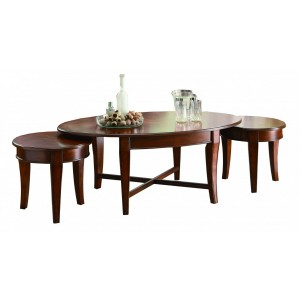 Violetta Wood Table Set (Coffee Table + 2 Small End Tables) by Homelegance
