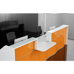 WAVE Linear Reception Desk, High Gloss Orange by MDD Office Furniture