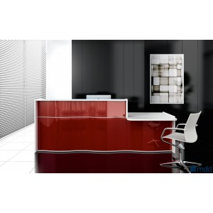 WAVE Linear Reception Desk, High Gloss Burgundy by MDD Office Furniture