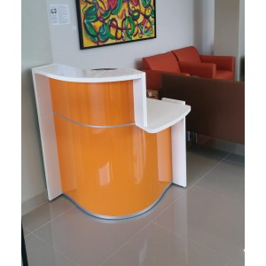 WAVE Small Reception Desk, Left-Handed Counter, High Gloss Orange by MDD Office Furniture