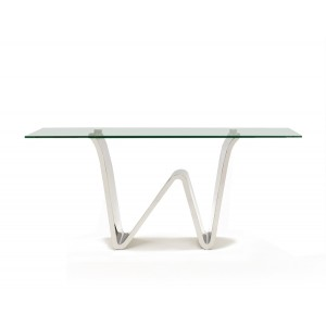 Waverly Glass/Stainless Steel Console Table by Sharelle Furnishings