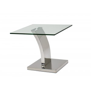 Waverly Glass/Stainless Steel Lamp Table by Sharelle Furnishings