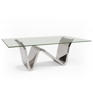 Waverly Glass/Stainless Steel Dining Table by Sharelle Furnishings